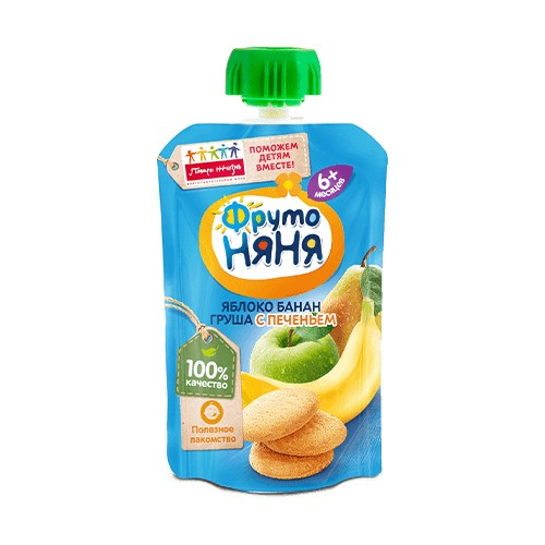 FrutoNyanya Puree from apple, banana and pear with biscuits 90g