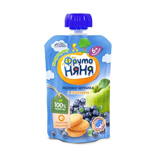 FrutoNyanya Puree from apple and blueberry with biscuits 90g