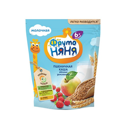 FrutoNyanya Soluble dairy wheat cereal with apple and wild strawberry 200g