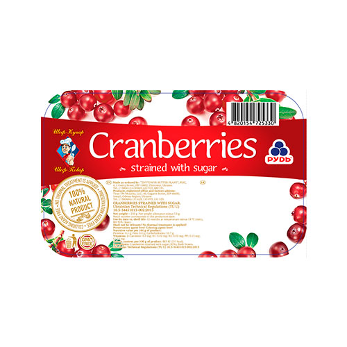 Mashed Cranberries with sugar 250g Rud online shop Dubai